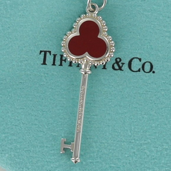 a6eea829d4886 Tiffany TREFOIL Key Pendant Charm Necklace RED